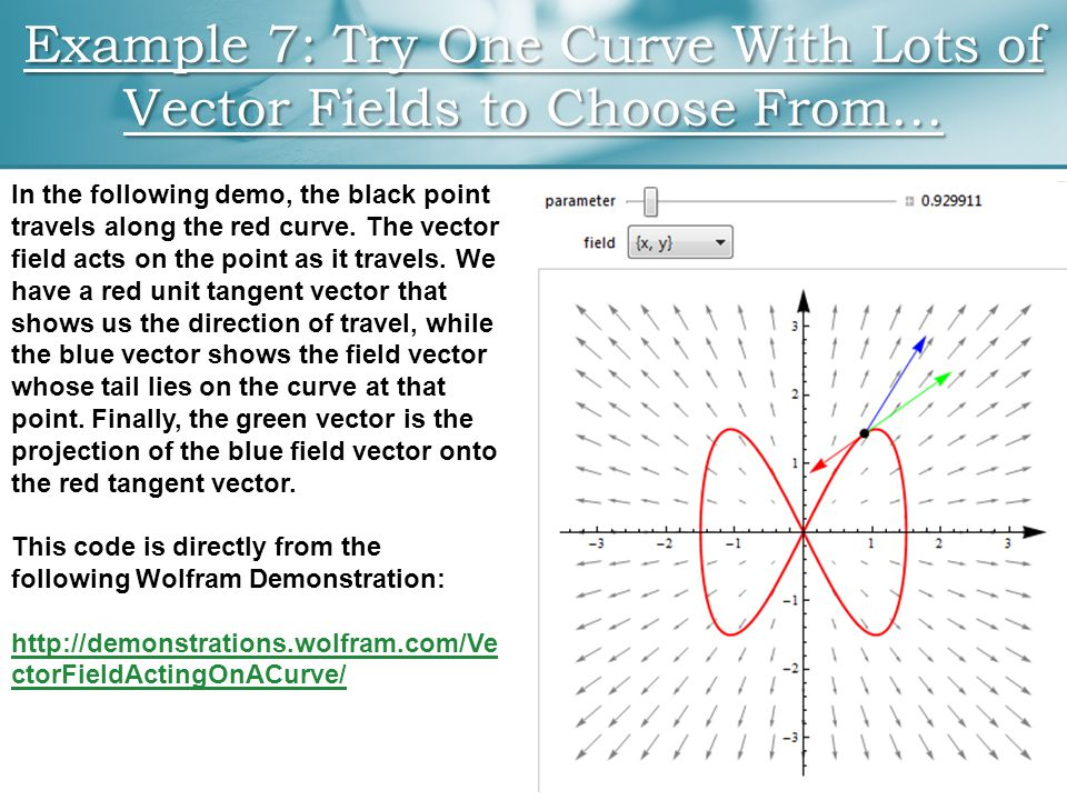 Example 7: Try One Curve With Lots of Vector Fields to Choose From… In the following demo, the black point travels along the red curve. The vector fie