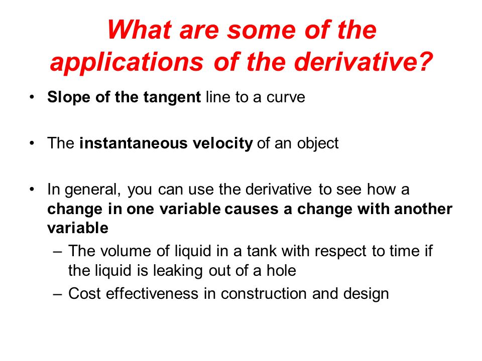 What are some of the applications of the derivative.