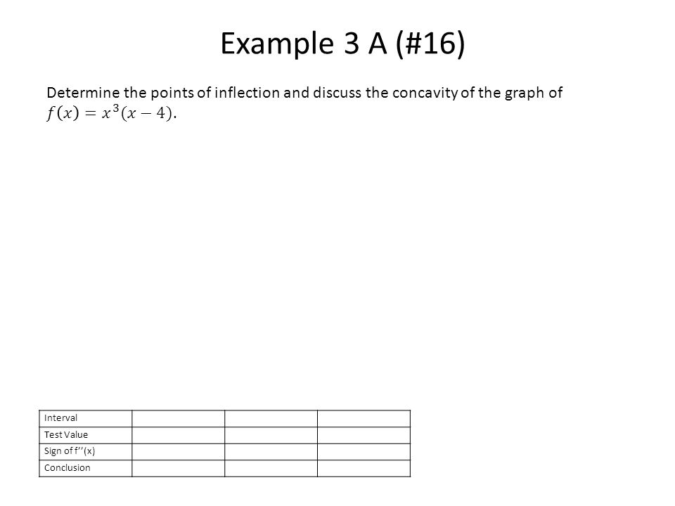Example 3 A (#16) Interval Test Value Sign of f''(x) Conclusion