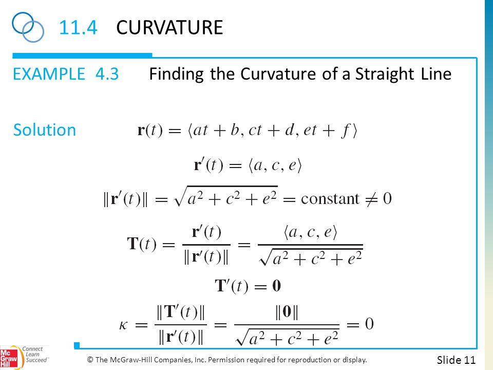 EXAMPLE Solution 11.4CURVATURE 4.3Finding the Curvature of a Straight Line Slide 11 © The McGraw-Hill Companies, Inc. Permission required for reproduc
