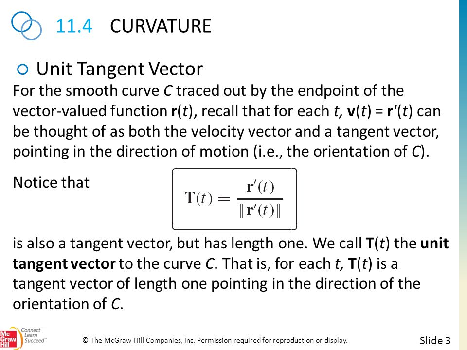 11.4CURVATURE Unit Tangent Vector Slide 3 © The McGraw-Hill Companies, Inc.