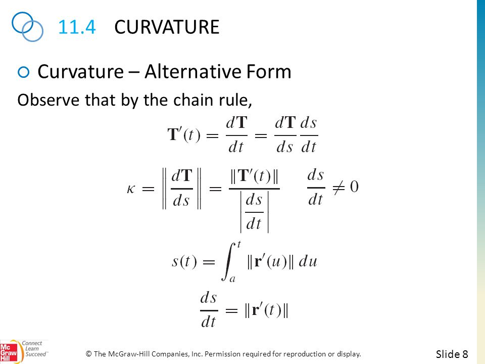 11.4CURVATURE Curvature – Alternative Form Slide 8 © The McGraw-Hill Companies, Inc. Permission required for reproduction or display. Observe that by