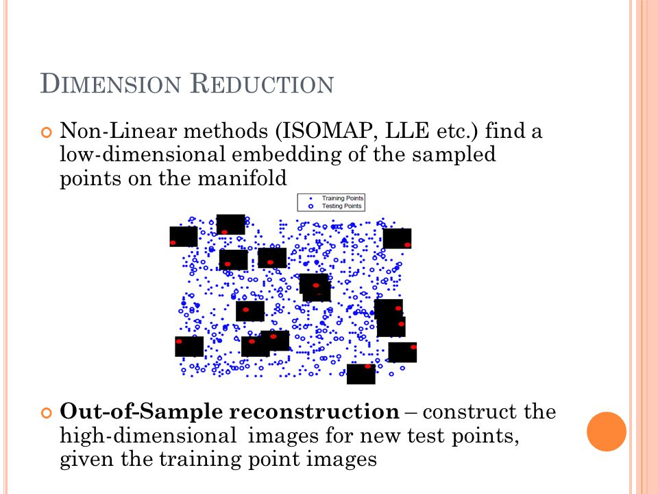 D IMENSION R EDUCTION Non-Linear methods (ISOMAP, LLE etc.) find a low-dimensional embedding of the sampled points on the manifold Out-of-Sample recon