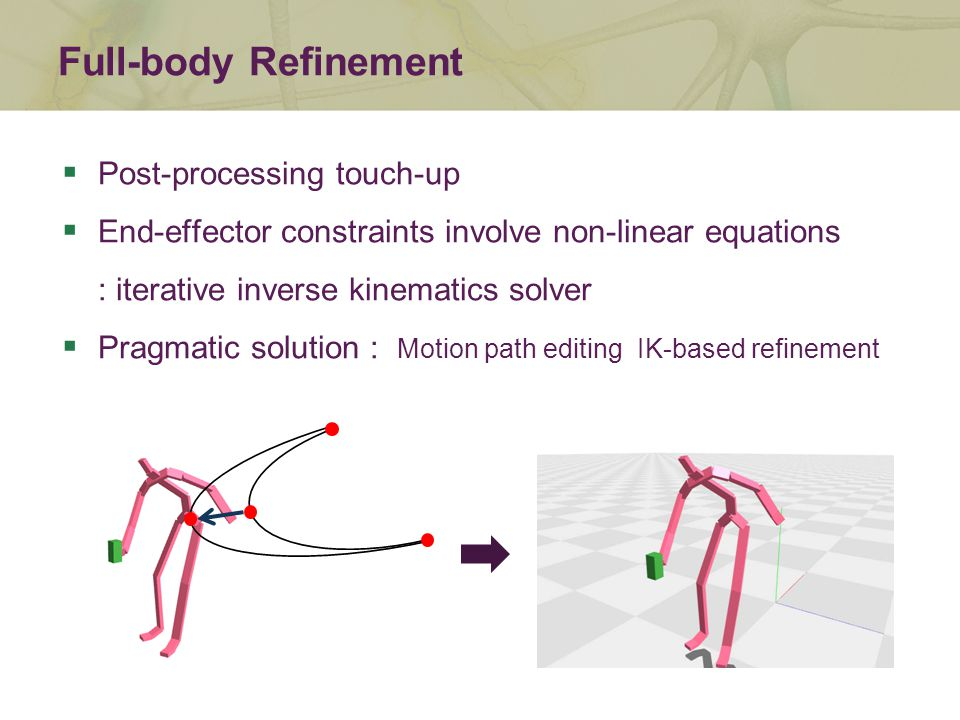  Post-processing touch-up  End-effector constraints involve non-linear equations : iterative inverse kinematics solver  Pragmatic solution : Motion path editing IK-based refinement Full-body Refinement