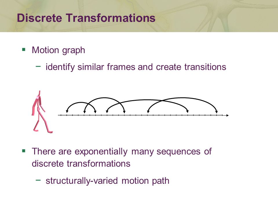  Motion graph − identify similar frames and create transitions  There are exponentially many sequences of discrete transformations − structurally-varied motion path Discrete Transformations