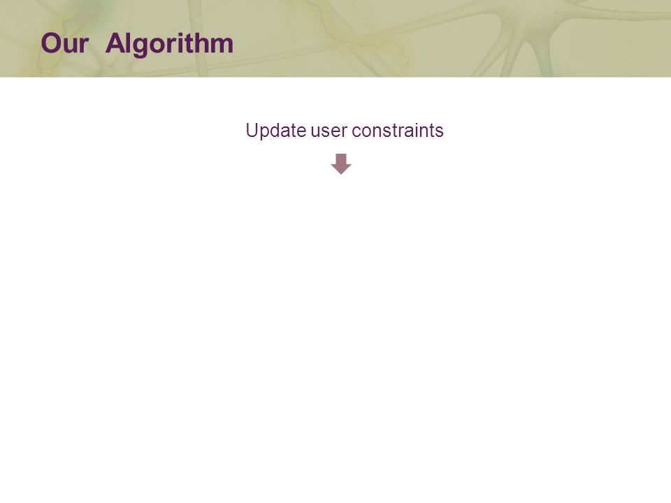 Our Algorithm Update user constraints