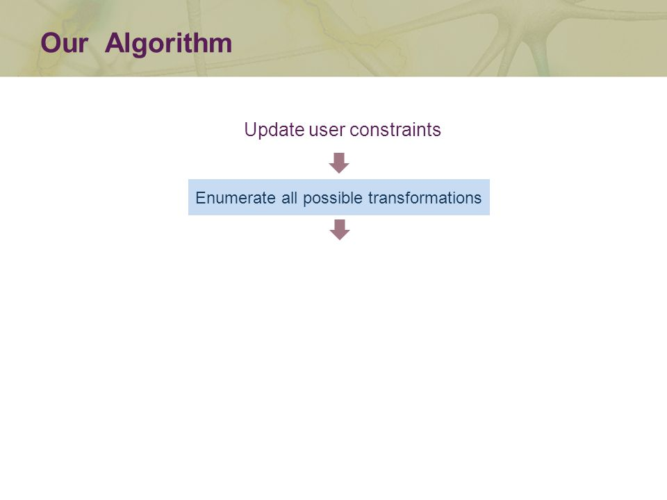 Enumerate all possible transformations Our Algorithm