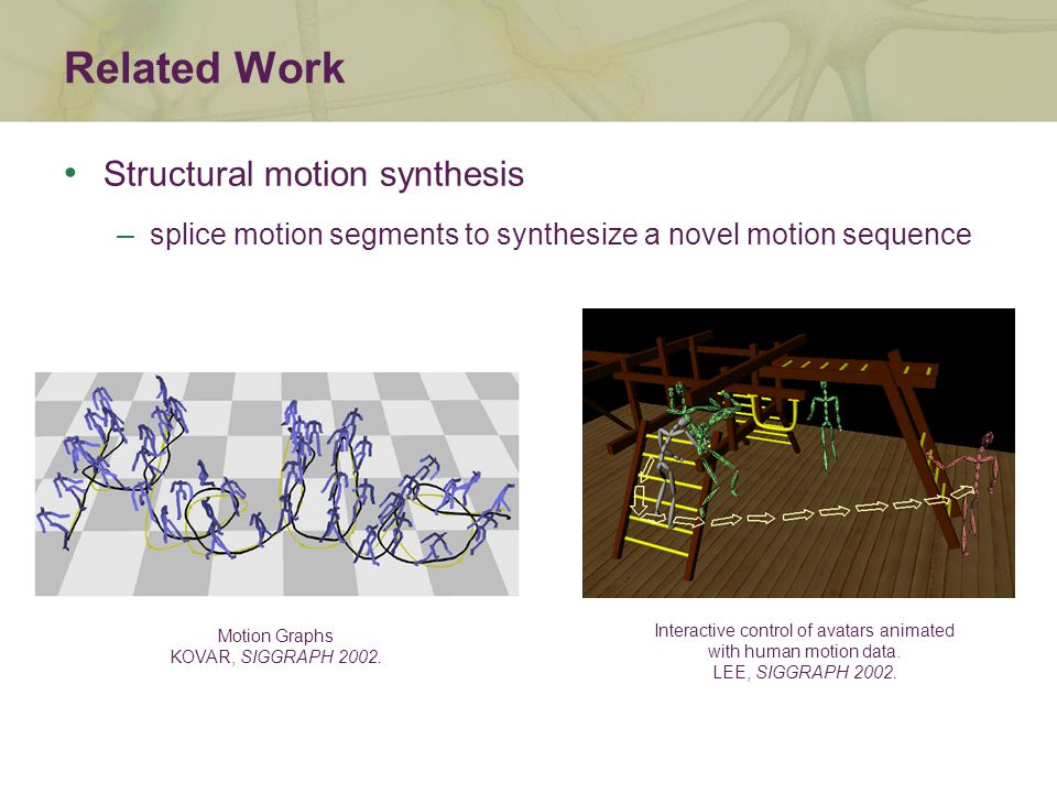Related Work Interactive control of avatars animated with human motion data.
