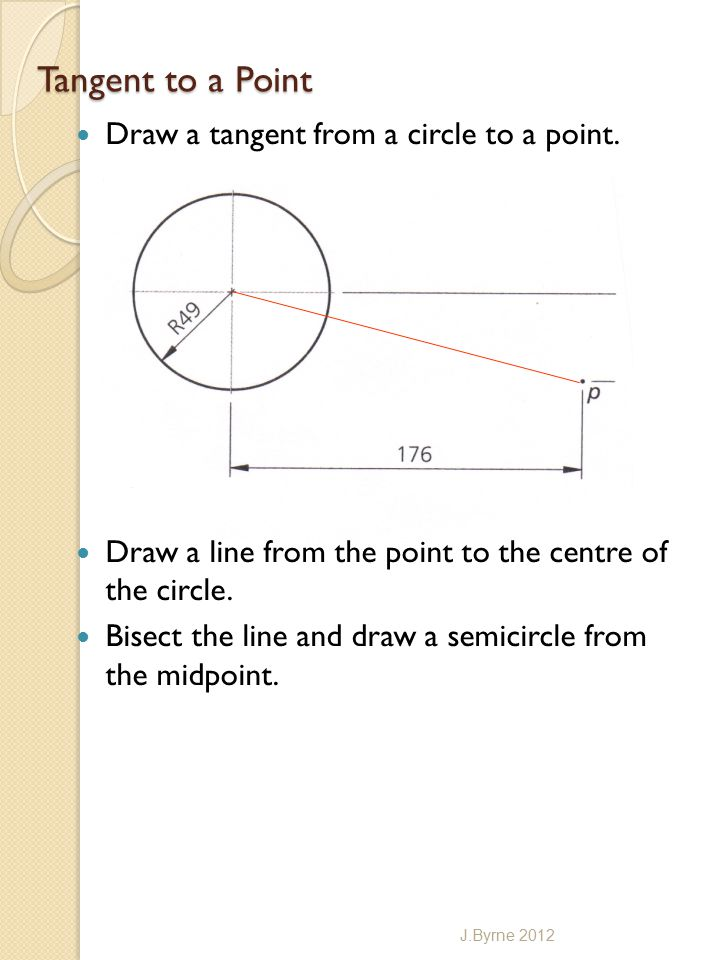 Tangent to a Point Draw a tangent from a circle to a point.