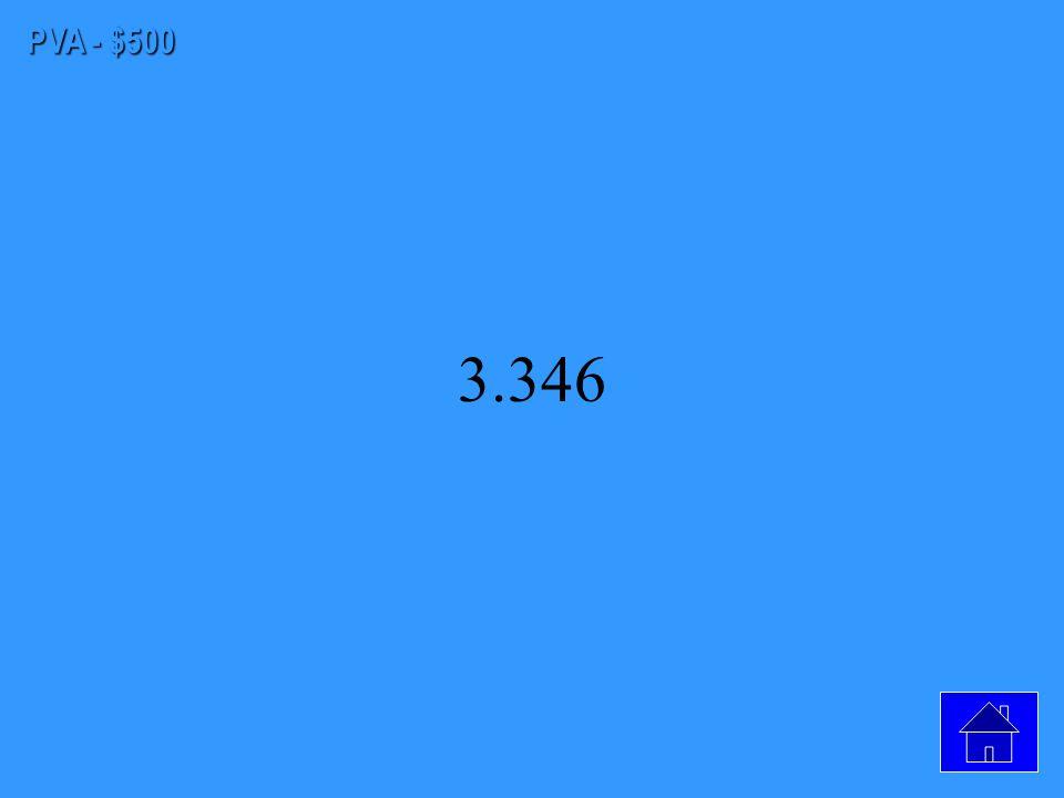 PVA - $400 38 ft/sec