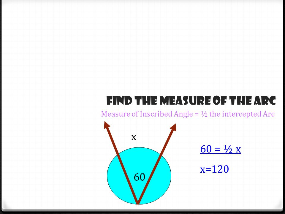 x 60 60 = ½ x x=120 Find the measure of the Arc Measure of Inscribed Angle = ½ the intercepted Arc