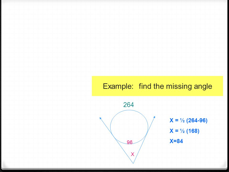 Example: find the missing angle X = ½ (264-96) X = ½ (168) X=84 96 X 264