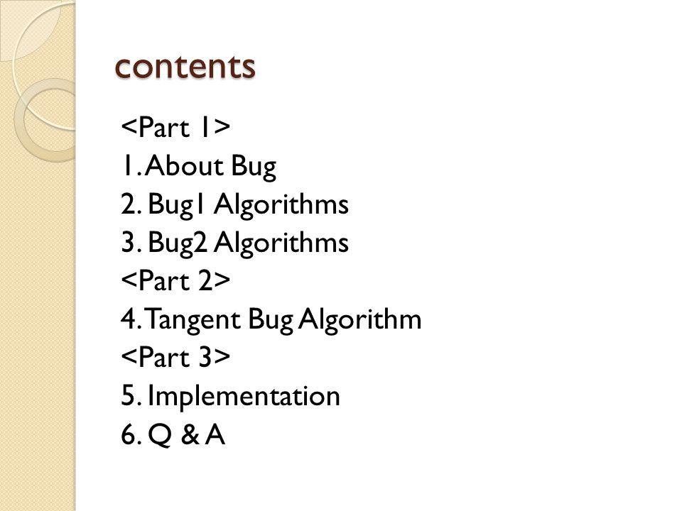 contents 1. About Bug 2. Bug1 Algorithms 3. Bug2 Algorithms 4.