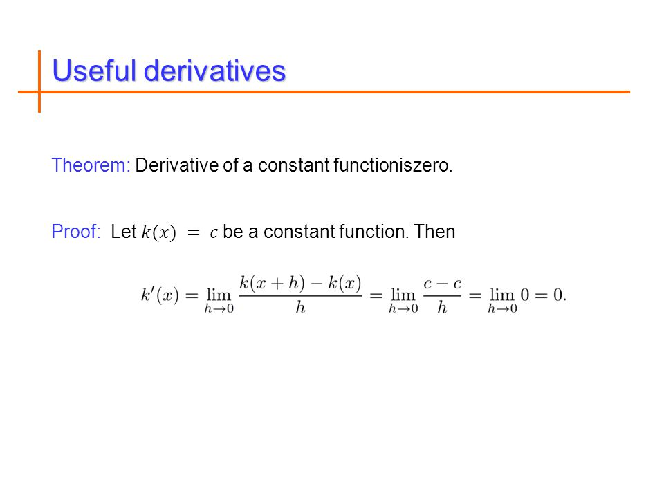 Useful derivatives
