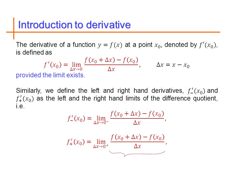 Introduction to derivative
