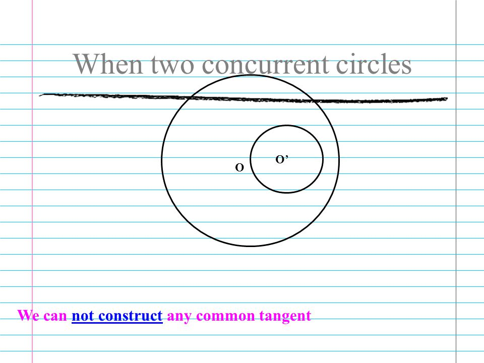 When two concurrent circles O O' We can not construct any common tangent