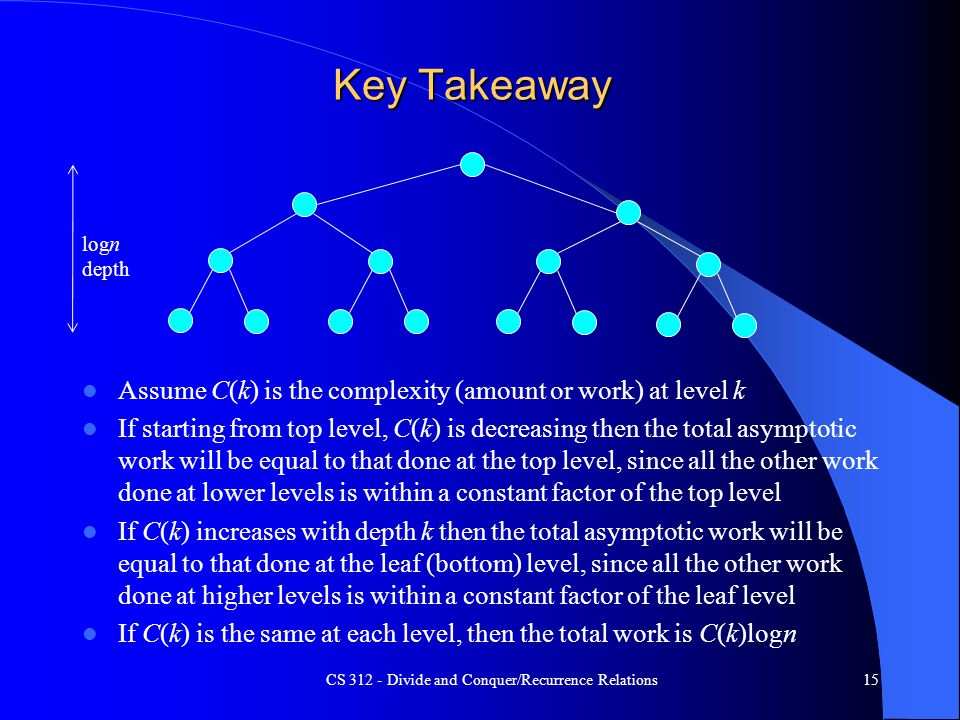 Key Takeaway Assume C(k) is the complexity (amount or work) at level k If starting from top level, C(k) is decreasing then the total asymptotic work will be equal to that done at the top level, since all the other work done at lower levels is within a constant factor of the top level If C(k) increases with depth k then the total asymptotic work will be equal to that done at the leaf (bottom) level, since all the other work done at higher levels is within a constant factor of the leaf level If C(k) is the same at each level, then the total work is C(k)logn CS 312 - Divide and Conquer/Recurrence Relations15 logn depth