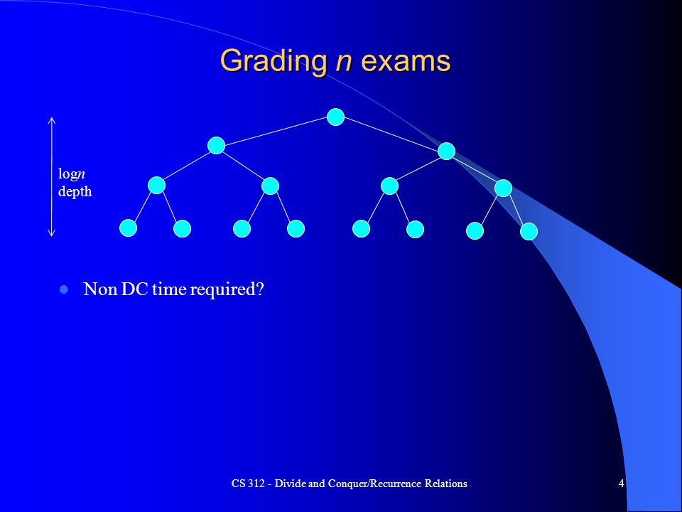 Grading n exams Non DC time required? CS 312 - Divide and Conquer/Recurrence Relations4 logn depth