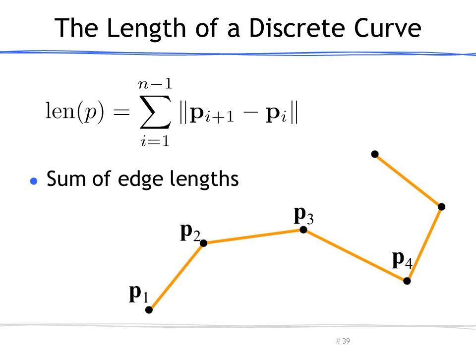 # p1p1 p2p2 p3p3 p4p4 The Length of a Discrete Curve ● Sum of edge lengths March 13, 2013Olga Sorkine-Hornung39
