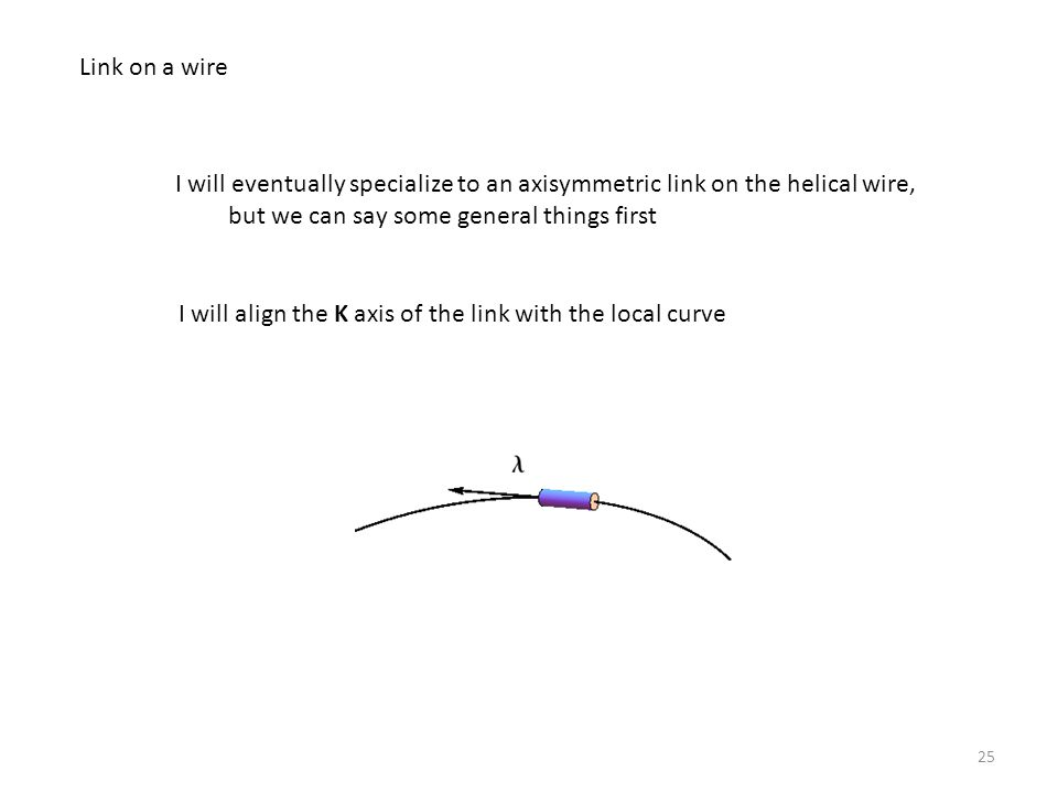 25 Link on a wire I will eventually specialize to an axisymmetric link on the helical wire, but we can say some general things first I will align the