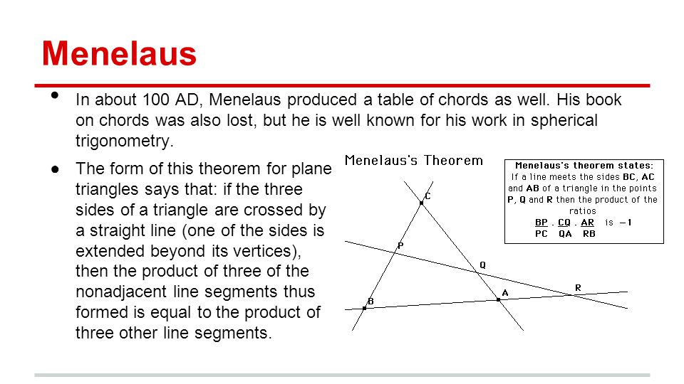 Menelaus In about 100 AD, Menelaus produced a table of chords as well.