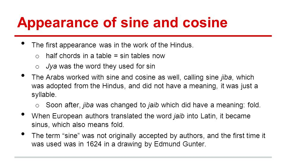 Appearance of sine and cosine The first appearance was in the work of the Hindus.