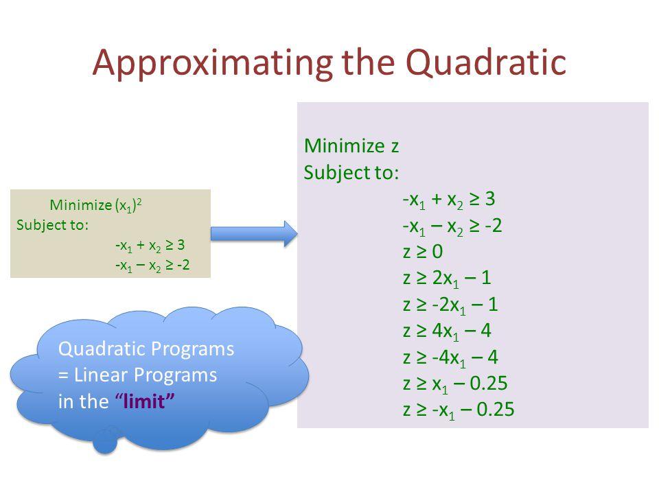 Approximating the Quadratic Minimize z Subject to: -x 1 + x 2 ≥ 3 -x 1 – x 2 ≥ -2 z ≥ 0 z ≥ 2x 1 – 1 z ≥ -2x 1 – 1 z ≥ 4x 1 – 4 z ≥ -4x 1 – 4 z ≥ x 1