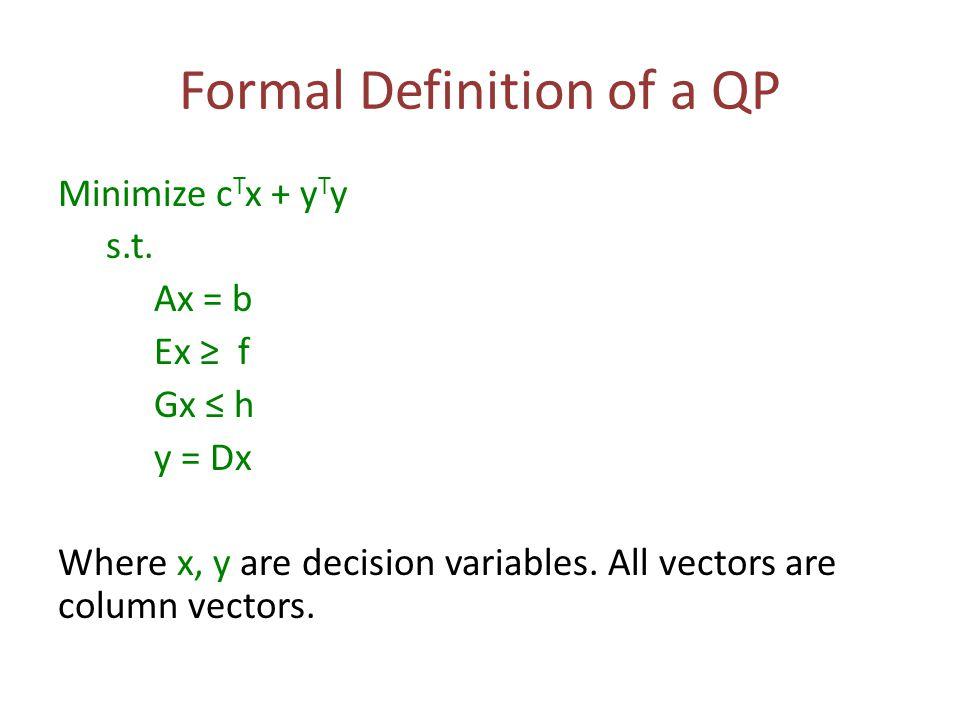 Formal Definition of a QP Minimize c T x + y T y s.t. Ax = b Ex ≥ f Gx ≤ h y = Dx Where x, y are decision variables. All vectors are column vectors.
