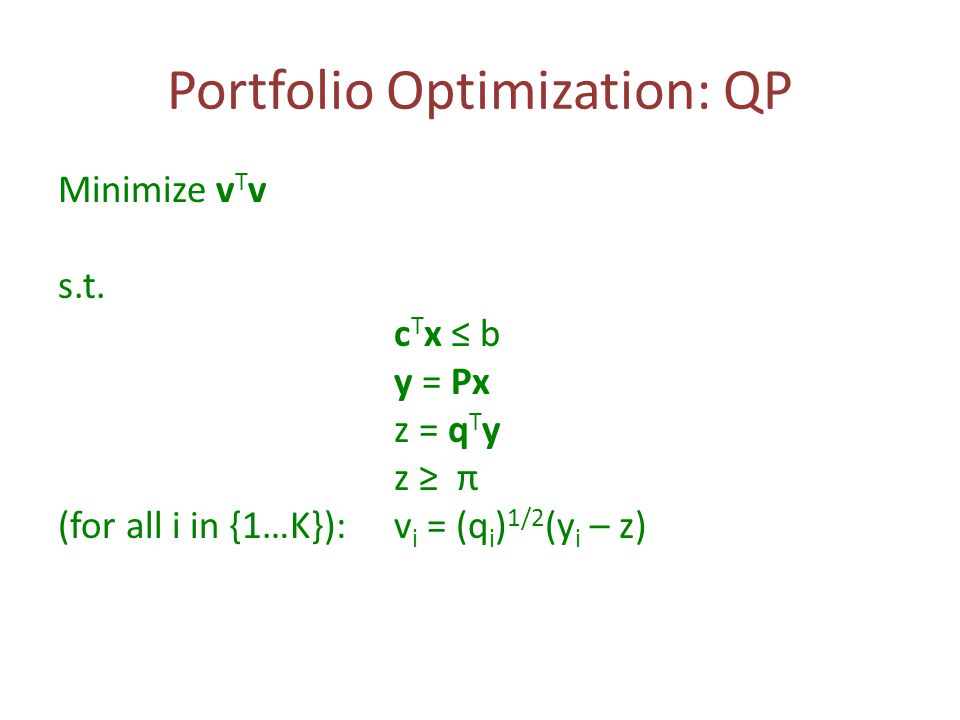 Portfolio Optimization: QP Minimize v T v s.t.