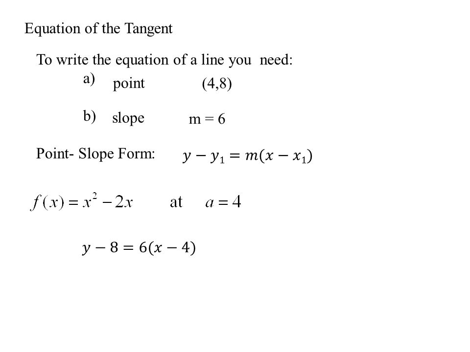 Equation of the Tangent To write the equation of a line you need: a) b) Point- Slope Form: point slope (4,8) m = 6