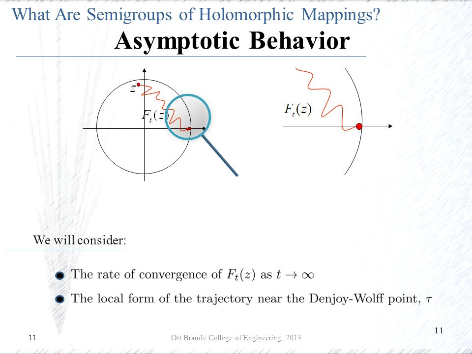 11 Ort Braude College of Engineering, 2013 We will consider: Asymptotic Behavior What Are Semigroups of Holomorphic Mappings?