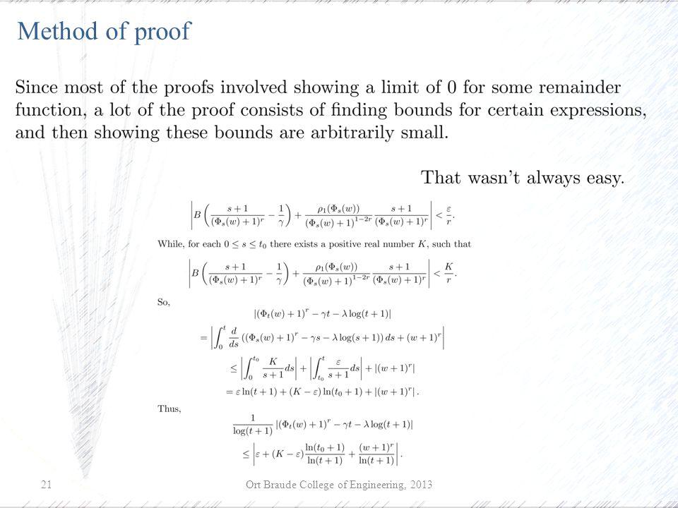 Ort Braude College of Engineering, 201321 Method of proof