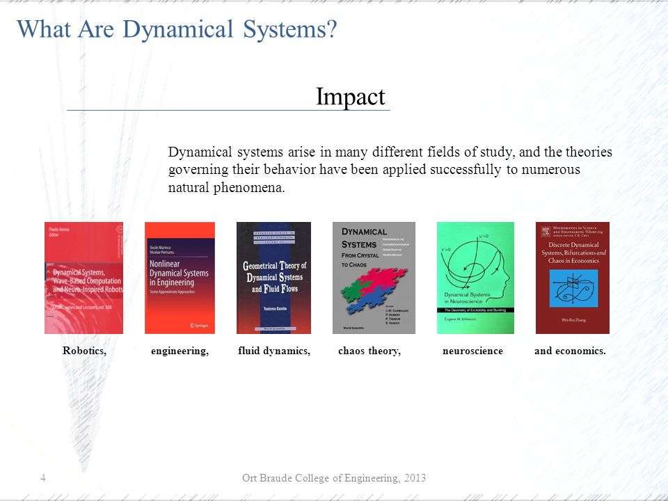 Ort Braude College of Engineering, 20134 What Are Dynamical Systems.