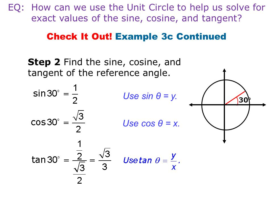 Check It Out! Example 3c Continued Step 2 Find the sine, cosine, and tangent of the reference angle. Use sin θ = y. Use cos θ = x. 30° EQ: How can we