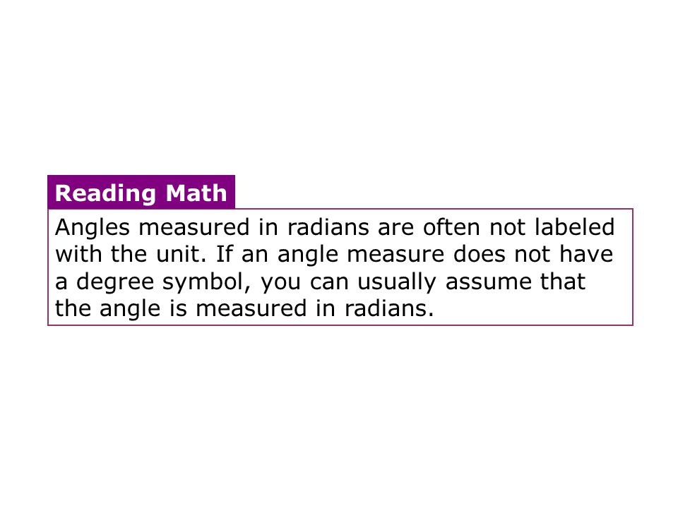 Angles measured in radians are often not labeled with the unit. If an angle measure does not have a degree symbol, you can usually assume that the ang