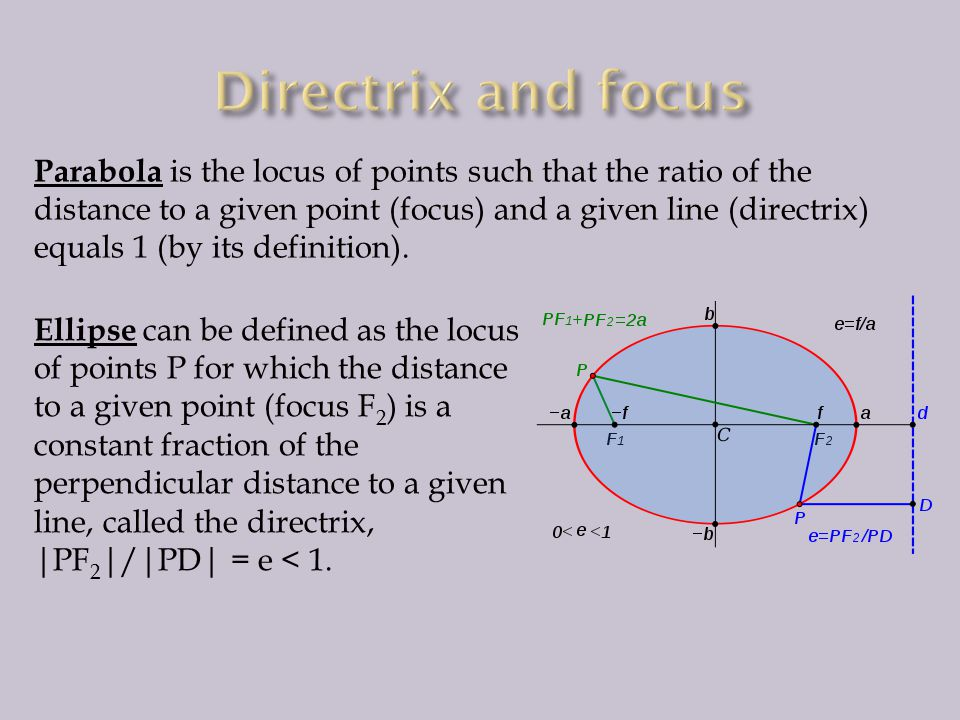 Parabola is the locus of points such that the ratio of the distance to a given point (focus) and a given line (directrix) equals 1 (by its definition).