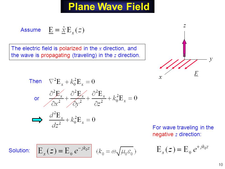 Plane Wave Field Assume Then or Solution: y z x E The electric field is polarized in the x direction, and the wave is propagating (traveling) in the z direction.