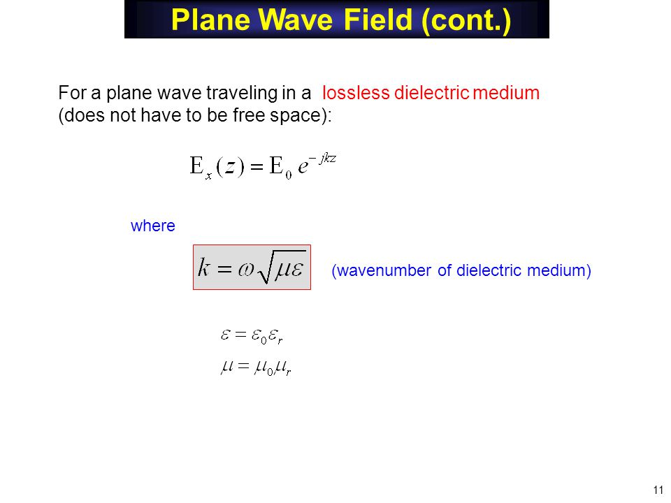 where For a plane wave traveling in a lossless dielectric medium (does not have to be free space): (wavenumber of dielectric medium) Plane Wave Field (cont.) 11