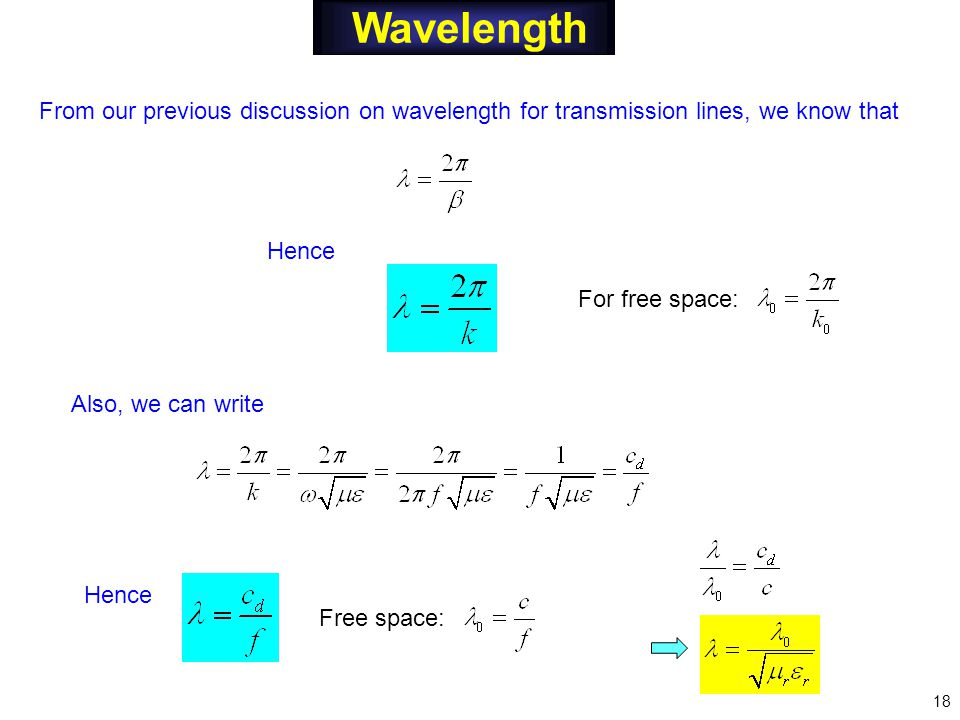 Wavelength From our previous discussion on wavelength for transmission lines, we know that Hence Also, we can write For free space: Free space: 18 Hence