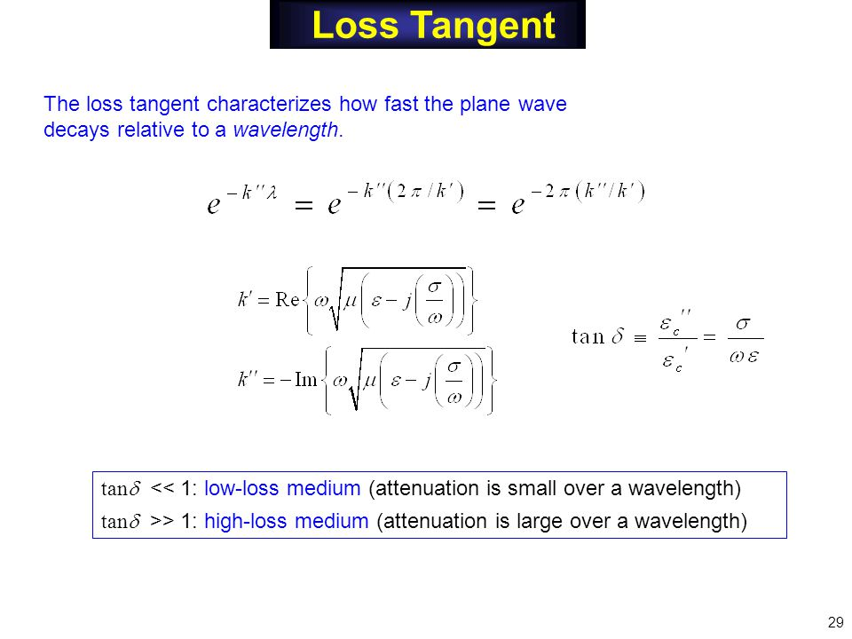 Loss Tangent The loss tangent characterizes how fast the plane wave decays relative to a wavelength.