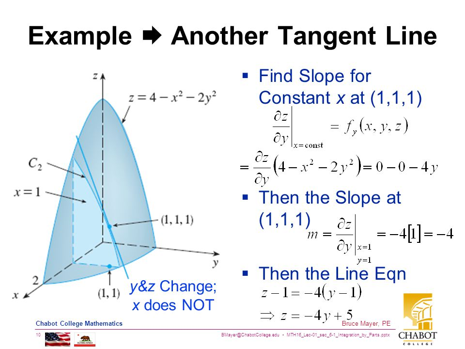 BMayer@ChabotCollege.edu MTH16_Lec-01_sec_6-1_Integration_by_Parts.pptx 10 Bruce Mayer, PE Chabot College Mathematics Example  Another Tangent Line  Find Slope for Constant x at (1,1,1)  Then the Slope at (1,1,1)  Then the Line Eqn y&z Change; x does NOT