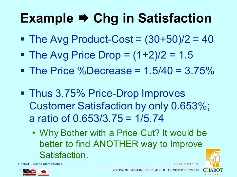 BMayer@ChabotCollege.edu MTH16_Lec-01_sec_6-1_Integration_by_Parts.pptx 19 Bruce Mayer, PE Chabot College Mathematics Example  Chg in Satisfaction  The Avg Product-Cost = (30+50)/2 = 40  The Avg Price Drop = (1+2)/2 = 1.5  The Price %Decrease = 1.5/40 = 3.75%  Thus 3.75% Price-Drop Improves Customer Satisfaction by only 0.653%; a ratio of 0.653/3.75 = 1/5.74 Why Bother with a Price Cut.