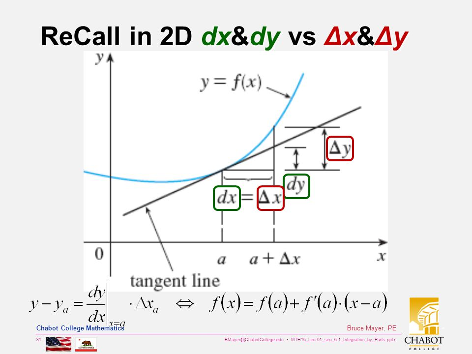 BMayer@ChabotCollege.edu MTH16_Lec-01_sec_6-1_Integration_by_Parts.pptx 31 Bruce Mayer, PE Chabot College Mathematics ReCall in 2D dx&dy vs Δx&Δy
