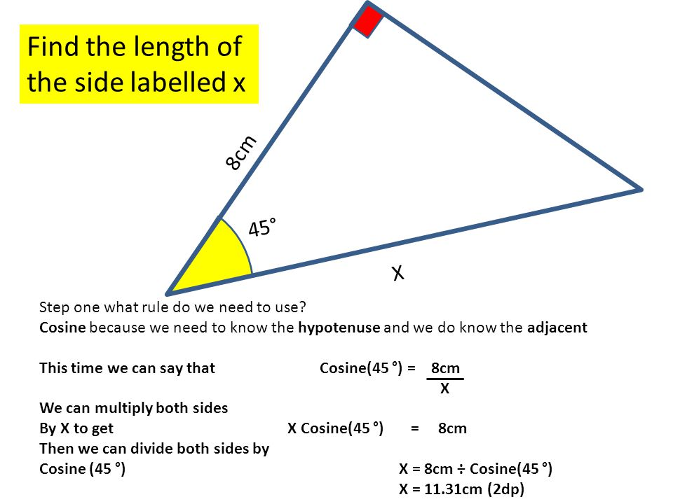 45° 8cm Find the length of the side labelled x X Step one what rule do we need to use.