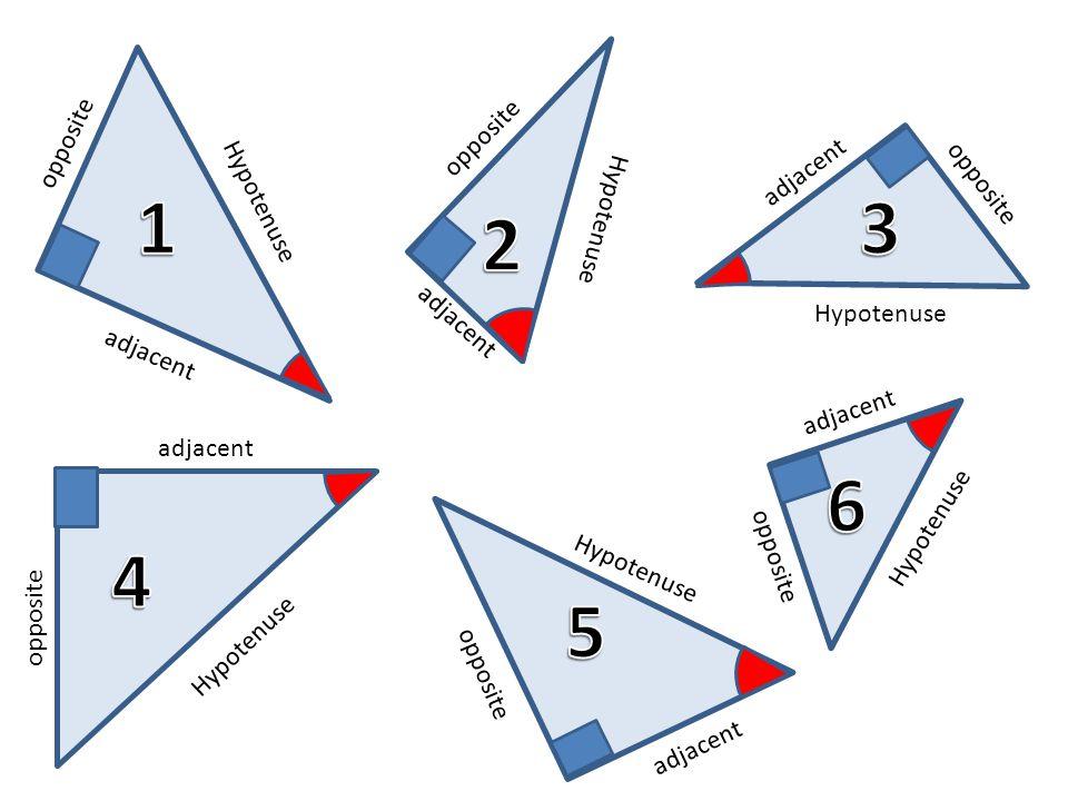 opposite Hypotenuse adjacent Hypotenuse adjacent opposite Hypotenuse adjacent Hypotenuse opposite Hypotenuse opposite adjacent opposite