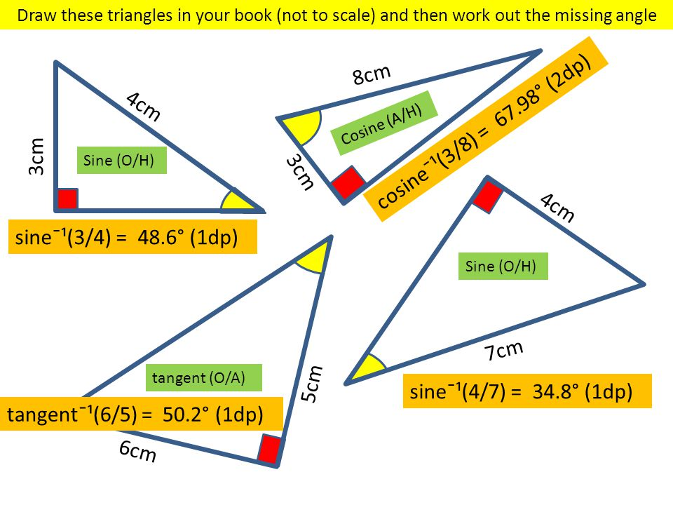 4cm 3cm 8cm 3cm 6cm 5cm 7cm 4cm Sine (O/H) Cosine (A/H) tangent (O/A) Sine (O/H) Draw these triangles in your book (not to scale) and then work out th