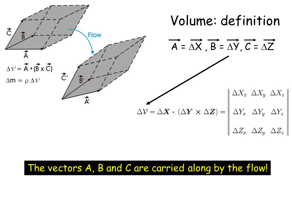 Volume: definition A =  X, B =  Y, C =  Z The vectors A, B and C are carried along by the flow!