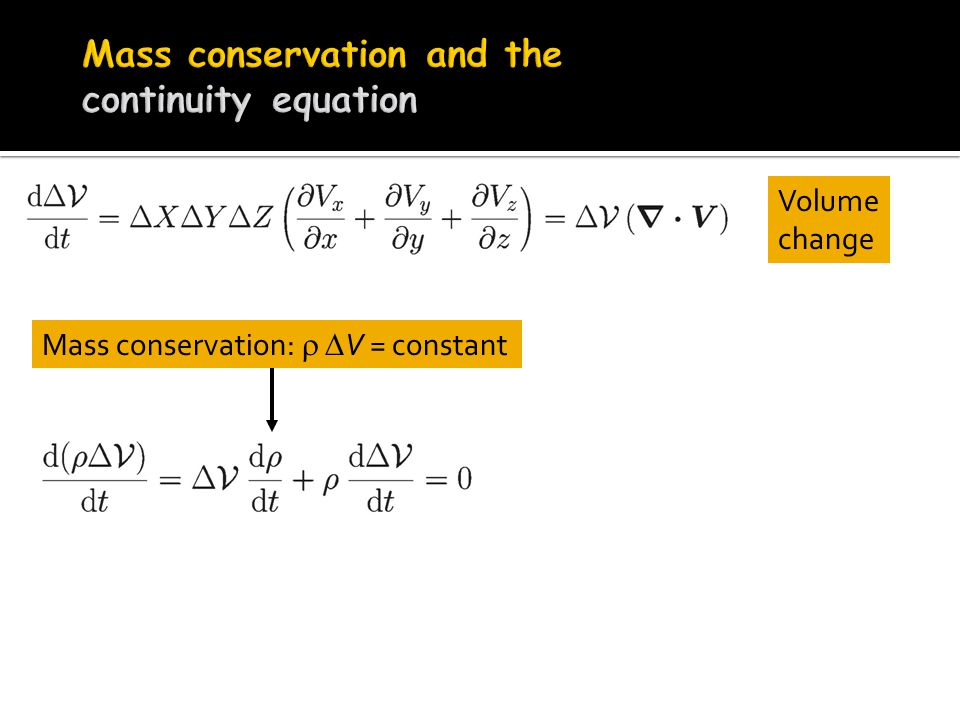 Volume change Mass conservation:   V = constant