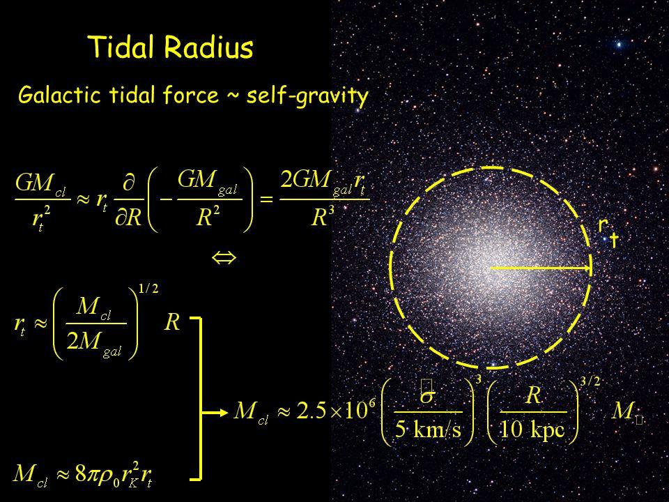 Tidal Radius Galactic tidal force ~ self-gravity r t