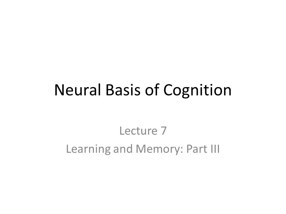 Neural Basis of Cognition Lecture 7 Learning and Memory: Part III